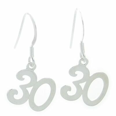 30th Birthday sterling silver drop earrings .925 x 1 pair drops DKC53032--HOOKS