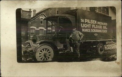 Delivery Truck PILSEN LIGHT FLOOR OIL Frank A Mourek on Back RPPC c1915