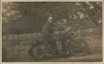 Man on Old Motorcycle c1920s-30s Real Photo Postcard