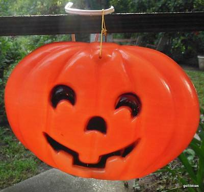 Jack O Lantern Pumpkin with Electric Night Light Mold Blown Plastic Hanging