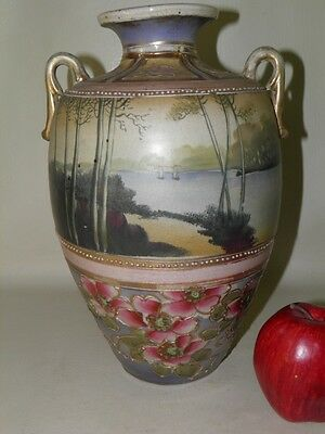 Antique Nippon Satsuma Hand Painted Scenic Floral Large Vase 12''high
