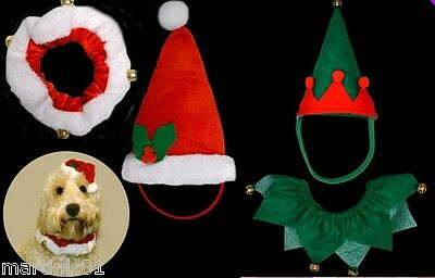 2Pc Doggy Hat+Collar Santa Elf Dog Cat Puppy Christmas Dress Up Pet Hats Xmas