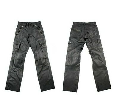 Mens Thick Leather Racing Motorcycle Cargo Style Pant With Armors New All Sizes
