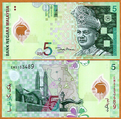 Malaysia, 5 Ringgit, ND (2004), P-47, UNC   First Polymer