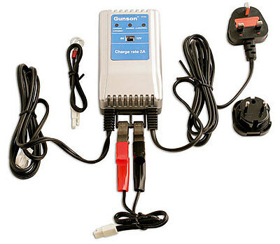 GUNSON TOOLS 2020 BATTERY CHARGER 6v 12v 2a LONG TERM TRICKLE CHARGE GEL AGM