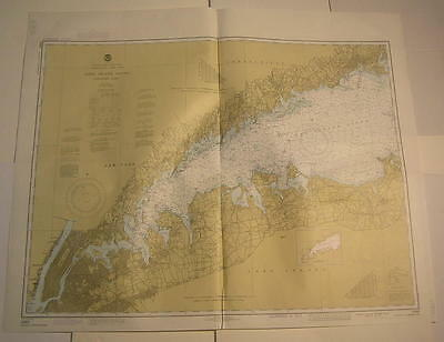 West Long Island Sound Manhattan Bronx River New York 1983 vintage nautical map