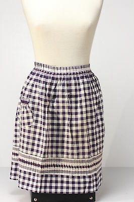 Blue & White Gingham Embroidered Waist-Tie Apron Home Sewn Retro Vintage
