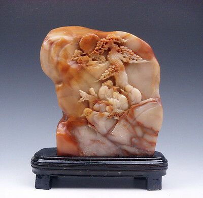 Vintage Shou-Shan Stone Hand Carved In Relief Pine Trees & Figurines #091115