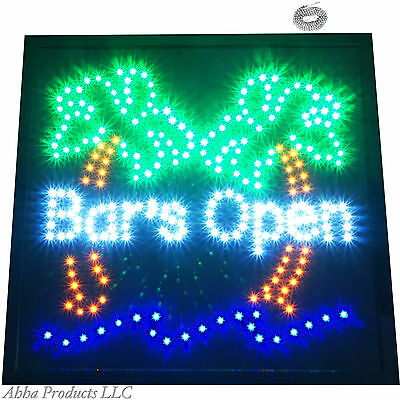 Bright Palm Tree Bars Open motion LED Sign light cocktail Tiki Bar Neon Animated