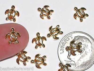 2pc Miniature dollhouse tiny Golden Little Turtle beads flatback craft findings