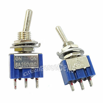 2 pcs 3 Pin SPDT ON-ON 2 Position 6A 250VAC Mini Toggle Switches MTS-102