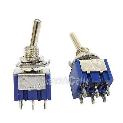5 pcs 6 Pin DPDT ON-ON 2 Position 6A 250VAC Mini Toggle Switches MTS-202
