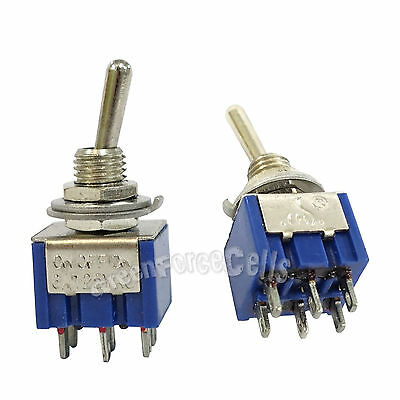 10 pcs 6 Pin DPDT ON-OFF-ON 3 Position 6A 250VAC Mini Toggle Switches MTS-203