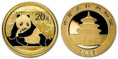 CHINE PANDA 1/20 Once 2015 Or 999,9/1000 - 1/20 Oz Gold Coin