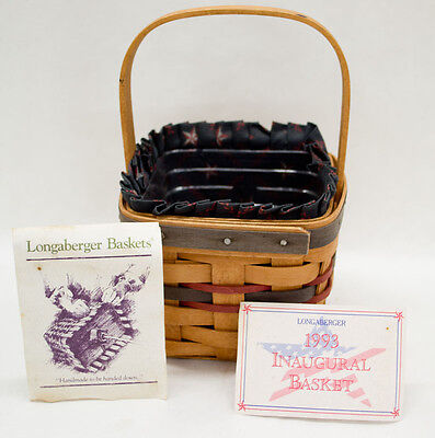 1993 Longaberger Inaugural Basket with Cloth Liner