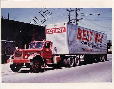 BEST WAY MOTOR FREIGHT 1940s STERLING Diesel & BROWN 8x10 COLOR GLOSSY PHOTO