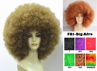 1970S 60's 70's Disco Fever Diva Retro Mega Jumbo Big Afro Costume Wig Black