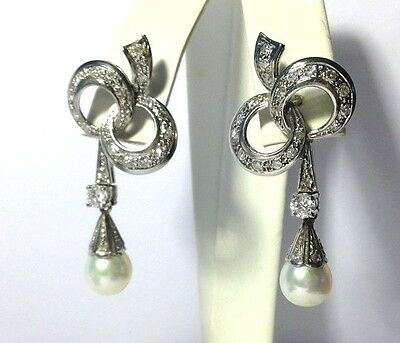 1930's Art Deco 18K White Gold 1.30CTW Diamond and Pearl Bow Drop Earrings