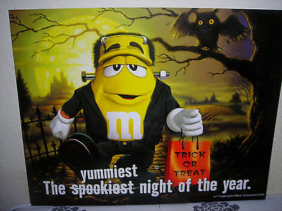 """M&m Yellow Halloween Advertisement 26"""" X 21"""" Poster Board Double Sided Sign"""