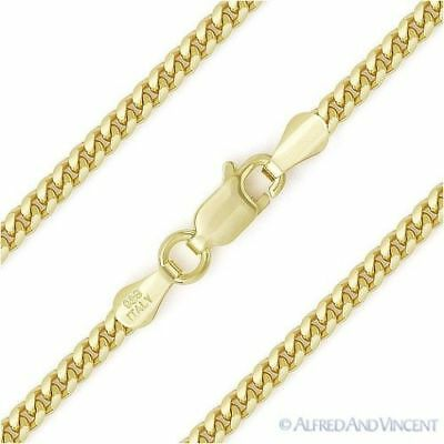 2.6mm Miami Cuban Curb Link Italy Sterling Silver 14k Yellow Gold Chain Necklace