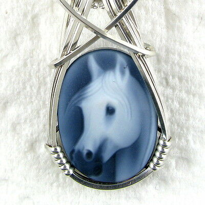 Horse Black Agate Oval Stone Cameo Pendant Sterling Silver Animal Jewelry