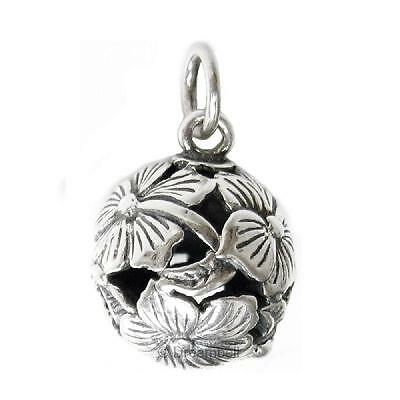 1x Antique 925 Sterling Silver Round Gourds Lotus Flower Dangle Charm SCP453B