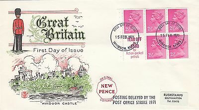 (46931) CLEARANCE GB  FDC 12.5p Booklet Pane 2.5p Windsor 15 Feb 1971