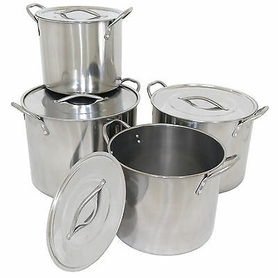 Set of 4 Stainless Steel Stock Pots Cooking Boiling Pans Deep Catering Stockpots