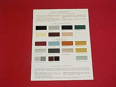 1977 Original Lincoln Continental Mark V 5 Paint Chips Color Chart Brochure 77