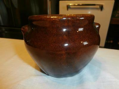 """Vtg Primitive Stoneware 3 3/8"""" Tall Crock Open Individual Bean Pot With Ears"""