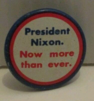 "Political Richard Nixon Now More Than Ever Tin Campaign Pinback Button 1.12"" Pin"