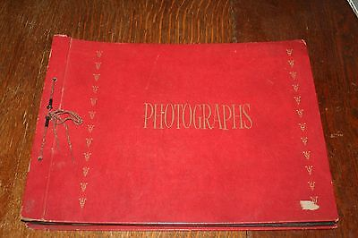 "Vintage Photo Album w/ 56 Mostly African Postcards - 16 1/2"" x 12 1/2"""