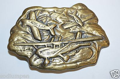 WOW Nice Vintage Airlines Aviation Personal Pilot Brass Tone Belt Buckle HTF