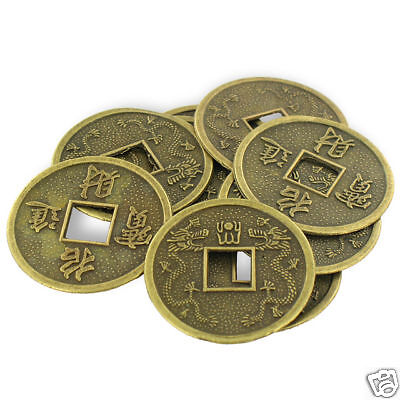 """LOT OF 10 FENG SHUI COINS 1.25"""" Lucky Chinese Fortune Coin I Ching Set Y1110"""