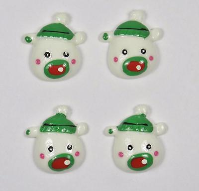 BB FLATBACKS CUTE POLAR BEAR pk of 4 christmas xmas cabochon resin flatback