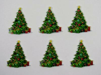 BB FLATBACKS planar CHRISTMAS TREE pk of 6 xmas flatback hair bows