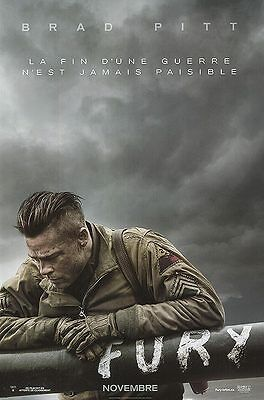 """Fury French Version Two Sided 27""""x40' inches Original Movie Poster Brad Pitt"""