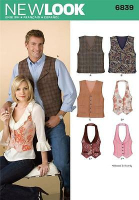 New Look Sewing Pattern Misses 8-18 & Mens Xs - Xl Vest Waistcoats  6839