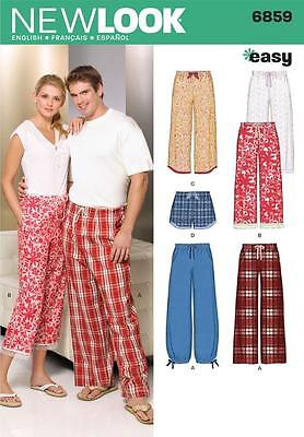 NEW LOOK SEWING PATTERN Misses, Men & Teens Pajama Pants  Shorts SIZE XS-XL 6859