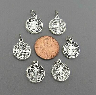 """Lot 6 Holy Medal Charms ITALY ~ St. Saint BENEDICT 1/2"""" SMALL M110 finish SILVER"""