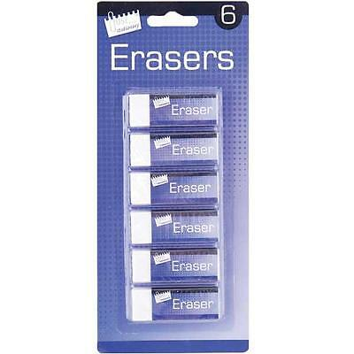 6 x Quality White Erasers Rubbers School Art Craft Home or Office Stationery