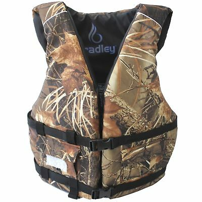 BRADLEY Camo Fishing Vest Life Jacket US Coast Guard Approved PFD with 2 pockets