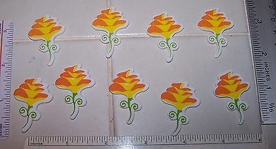 LOT 30 Pretty Yellow FLOWERS Self Adhesive Foam Shapes Stickers