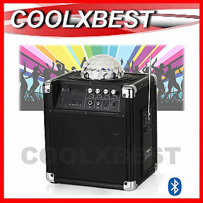 PARTY BLUETOOTH PA SPEAKER with DISCO BALL COLOUR LIGHT USB SD iPOD iPHONE