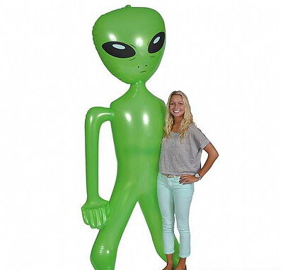 "2 Giant 96""-100"" Inch Alien Inflate Inflatable 8 Feet Blow Up Prop Gag Halloween"