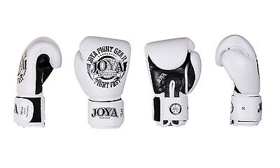 Joya Kickboxing Premium Glove Leather FIGHT FAST white. Kickboxen,Muay Thai 12Oz
