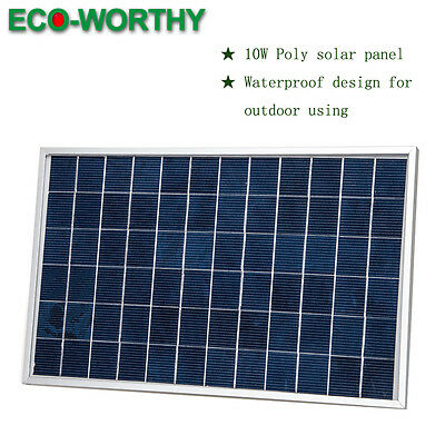 ECO 10Watt 18V PV Solar Panel 12V Solar for Car Boat Camping Battery Recharge