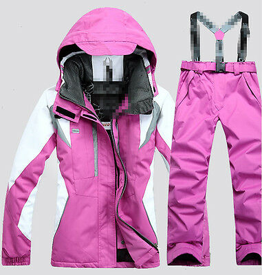 Hot Womens Hooded Zipper Waterproof Thicken Warm Ski Suits Coats Pants 6 Colors