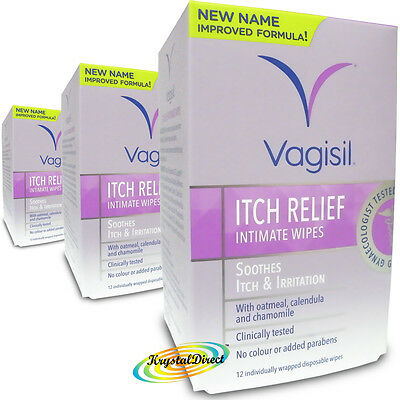 3x Vagisil Itch Relief Intimate Wipes 12 Soothes Itch and Irritation
