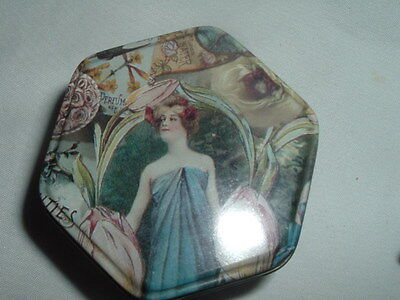 Beautiful Small Art Nouveau Tin Litho Box 6-Sided